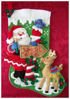 Beautiful #Bucilla Santa Claus #Christmas felt #stocking with sequins!!!