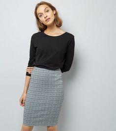 Black Houndstooth Check Stretch Pencil Skirt