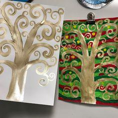 3rd grade Gustav Klimt art project, elementary art, tree of life art project, elementary art lesson, Gold tree art lesson, 3rd grade art lesson, 3rd grade art project