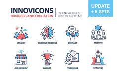 Business & Education Icons Super Set by Decorwith.me Shop on Education Icon, Business Education, Business Brochure, Business Card Logo, Line Design, Icon Design, Ppt Design, Design Ideas, Texture Web