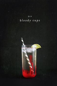diy 'bloody' cups for halloween drinks