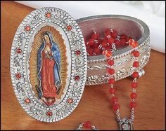 Madonna Our Lady of Guadalupe Rosary or Prayer box. This Affordalbe Hand painted…