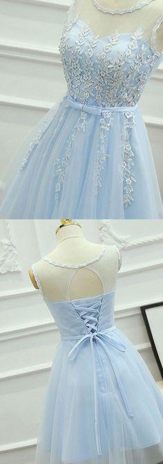 light sky blue Homecoming Dresses,Cheap Short Homecoming Dresses,lace Homecoming Dress for teens