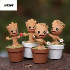 Guardians Of The Galaxy Mini baby Groot marvel Action Toy Figures Cartoon Movies Cartoon Toys, Cartoon Movies, Baby Groot Action Figure, Groot Toy, Nim C, Marvel Cartoons, Potted Trees, Miniature Figurines, Fairy Garden Accessories