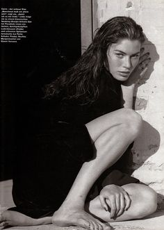 Carre Otis by Manuela Pavesi for Marie Claire Germany, June 1991 Natalia Vodianova, Laetitia Casta, Lily Aldridge, Claudia Schiffer, Cindy Crawford, Heidi Klum, Black White Photos, Black And White, Estelle Lefébure