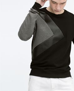 ZARA - MAN - SWEATSHIRT WITH FAUX LEATHER DETAILS