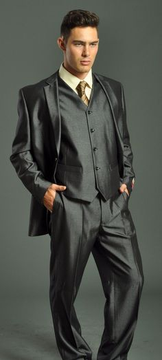 vested suit | Men's Two Button Vested Charcoal Suit: Men's Suits & Formal Wear ...