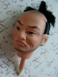 Vintage Asian Hand painted Doll Head Glass eyes Creepy and Mean