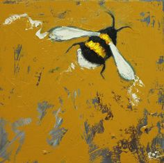 Bee painting 278 12x12 inch insect animal portrait by RozArt, $85.00