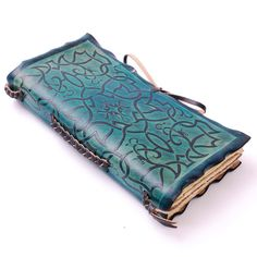 Teal Ornament Leather Journal by GILDBookbinders on Etsy