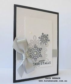 Black & White Christmas Week - Day 5,  2015 Stampin' Up! Holiday Catalogue,  Flurry of Wishes stamp set, Softly Falling Embossing Folder, Kate Benade Stampin' Up! Demonstrator Melbourne Australia, www.katebenade.com