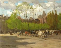 Artwork by Nicolaas van der Waay, A view of the Rijksmuseum, Amsterdam, with horse-drawn carriages on the Stadhouderskade, Made of oil on cardboard 32 x 40.5 cm Signed