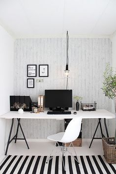 black and white studio office