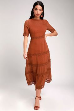 Look lovely as ever in the Lulus Dreaming of You Rust Orange Swiss Dot Midi Dress! Swiss dots and crochet lace adds femme flair to this woven midi dress. Rust Orange Dress, Rust Color Dress, Orange Dress Summer, Fall Cocktail Dress, Orange Cocktail Dresses, Modest Dresses, Fall Dresses, Casual Dresses, Midi Dresses