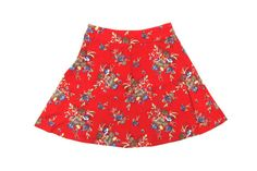 Red Floral Skirt XS  Boho Skirt with Red Floral Print by ColonyVtg