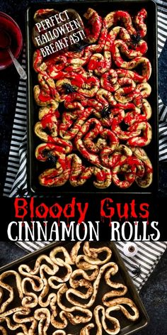 Perfect Halloween Breakfast for the kids - bloody gut cinnamon rolls made with store bought cinnamon rolls. Pair it with some green scrambled egg (brains) for a spooky breakfast. Halloween Breakfast, Halloween Dinner, Halloween Desserts, Halloween Food For Party, Halloween Treats, Bloody Halloween, Halloween Foods, Halloween Costumes, Party Food For Kids