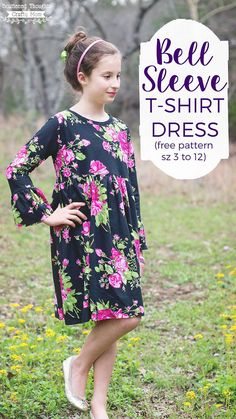 Free Bell Sleeve T-Shirt Dress Pattern, size 3 to 12 - Scattered Thoughts of a Crafty Mom