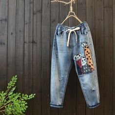 Spring Women s Cartoon Loose Casual Harem Pants Patched Jeans, Denim Pants, Harem Pants, Women's Jeans, Casual School Outfits, High Waisted Mom Jeans, Jean Outfits, Suits You, Diy Clothes