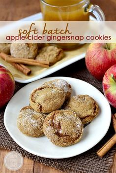 Soft Batch Apple Cider Gingersnap Cookies are soft, chewy and apple-cider spiked. Easily made gluten-free! | http://iowagirleats.com