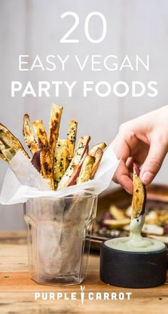 20+ quick and easy vegan party foods perfect for feeding a crowd. Comment below if you give any of these simple and delicious, dairy-free recipes a try.