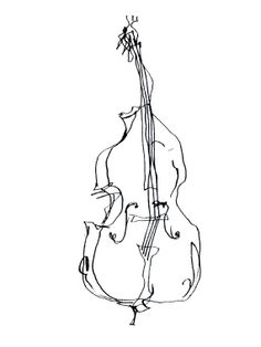 Illustration of a double bass. by rosejocham on Etsy,