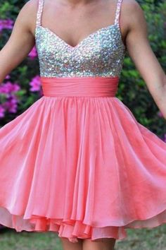 Unique Pink strapless Beadings Chiffon Homecoming Dresses,Sweet 16,Evening Dresses