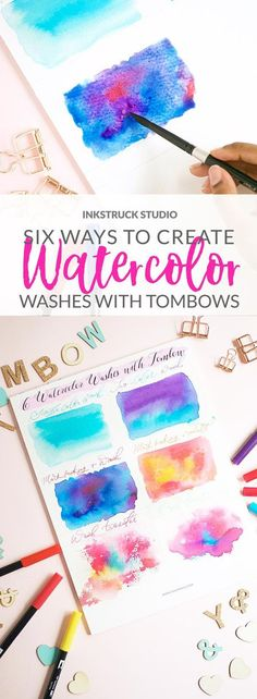 Looking for a fun way to watercolor? Use my technique of creating watercolor wash using Tombow brush pens in six different ways - Inkstruck Studio Tombow Pens, Brush Pen Art, Watercolor Brush Pen, Tombow Dual Brush Pen, Watercolor Lettering, Pen And Watercolor, Watercolor Pencils, Watercolors, Brush Lettering