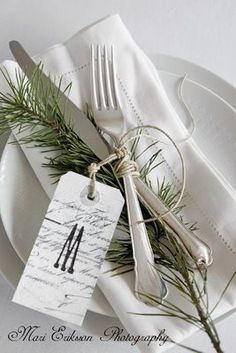 rosemary twig table setting - lovely!