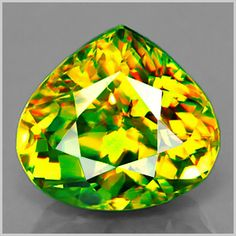 Sphene has the second highest dispersion 'fire' of any stone, the highest being demantoid garnet.  The third highest is diamond.