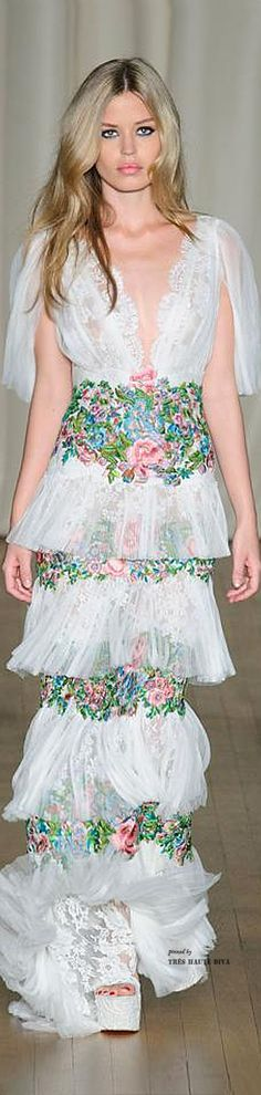 The romantic inspiration for evening dresses by American brand MARCHESA, Spring/Summer 2015