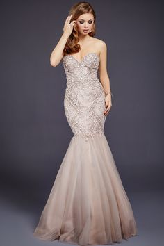 Taupe floor length form fitting strapless fully beaded mermaid gown features tulle bottom and a sweetheart neckline. Casual Wedding Guest Dresses, Sheer Wedding Dress, Evening Dresses For Weddings, Formal Evening Dresses, Wedding Gowns, Halloween Costume Wedding, Boho Sommer Outfits, Beautiful Dresses, Lace Dresses