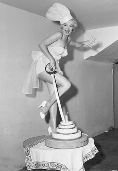 Marilyn Monroe voted Miss Cheesecake of the year by Stars and Stripes magazine, 1952.