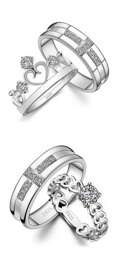 Cross + Heart / Crown Promise Rings for Couples, Matching Wedding Band & Engagement Ring Set with CZ Diamond, Unique His and Hers Jewelry @ iDream-Jewelry.Com