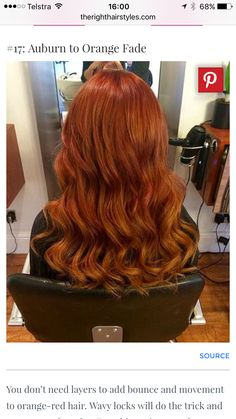 Auburn to orange fade curly ombre hair Red Ombre Hair, Hair Color Auburn, Auburn Hair, Red Hair Color, Hair Colors, Auburn Red, Auburn Colors, Ombre Brown, Light Auburn