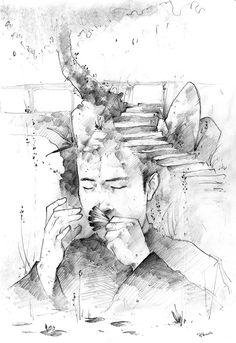 A portrait of Wang Li playing a 'five leaves' Kou Xiang by Rowan Lee Hartsuiker