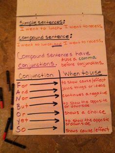 Conjunctions for compound sentences