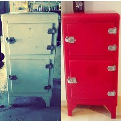 Vintage ice box painted red by Paint it Like New! Inc.    #Respray #vintage #paint