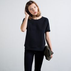 The Short Sleeve - Black – Everlane – Everlane  Not sure how practical it is, but I kind of love the short sleeve sweatshirt. $30