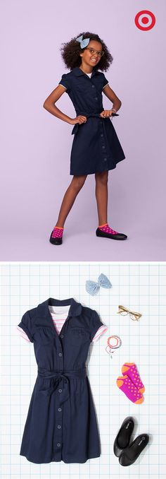 Add vintage, old-school accessories to a classic girls' uniform for new-school style that stands out. Not the socks. Back To School Uniform, School Uniform Fashion, Preteen Fashion, Kids Fashion, Fashion Outfits, Little Girl Fashion, Little Girl Dresses, Kids Uniforms, School Uniforms