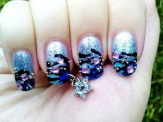charming blue dip dye 3d glitter christmas nail art with crystal glitter christmas nail  #prom nail art