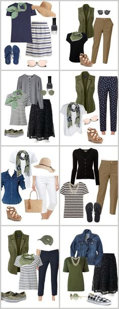 Summer Fashion Ideas. Mixing and Matching To Come Up With Several Outfits. Great For Travel. Casual Wear.