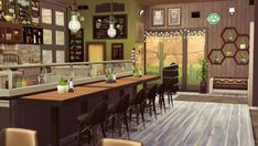 """jenba-sims — SolCaf SolCaf (a shortened form of """"Soul Cafe""""). Sims 4 Restaurant, Cafe Interior, Interior Design, Casa Anime, High Top Tables, Casas The Sims 4, Sims House Design, Sims Building, Best Sims"""