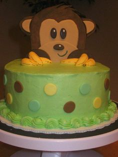 monkey baby shower ideas for boys | This was a smaller, one tier version of the monkey baby shower cake I ...