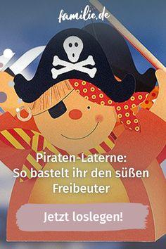 """Mit unserer Piraten-Laterne heißt es in diesem Jahr auf dem Sankt-Martins-Umzug """"Ahoi, ihr Landratten"""". Und eure kleinen Abenteurer werden den süßen Freibeuter lieben. Worauf wartet ihr also noch? Ran an Tonpapier und Schere. Was ihr sonst noch für die Laterne braucht und wie ihr sie Schritt für Schritt nachbastelt. #pirat #laterne #sanktmartin #umzug #herbst #herbstbasteln #diy Snoopy, Movies, Movie Posters, Fictional Characters, Kids Discipline, Moving Home, Films, Film Poster, Cinema"""