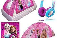 """Disney Frozen """"Chillin & Groovin"""" Kids 2 in 1 Bed Tent Play Set – Tent, Headphones & Plush Throw Blanket"""