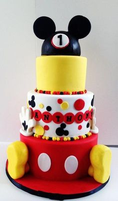 Mickey Mouse first birthday theme cake the original design was done by Sweet Dandelion. The feet were made out of RKT, the hat was made using half of a styrofoam ball then covered in fondant