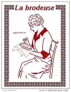 0 point de croix monochrome femme brodant - cross stitch woman embroidering