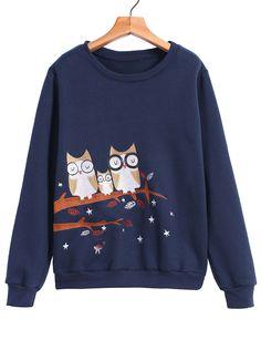 Owl Embroidered Loose Sweatshirt