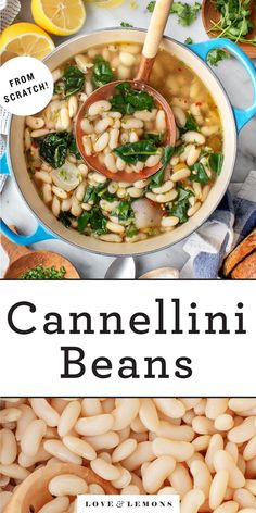 This easy cannellini beans recipe is a healthy, inexpensive, and delicious one-pot meal! Serve it with crusty bread for sopping up the flavorful broth. Vegan. | Love and Lemons #beans #onepot #healthy #vegan Vegetarian Dinners, Vegetarian Recipes, Healthy Recipes, Vegan Soups, Vegetarian Cooking, Healthy Meals, Cooking Dried Beans, Greens Recipe, Recipes