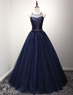 Formal Evening Dress Ball Gown Jewel Floor-length Organza with Beading – EUR € 117.59